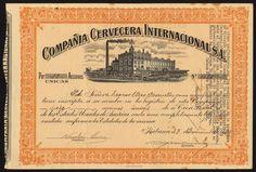 Compania Cervecera Internacional S.A certificate for unique shares, 19[25], no.1653