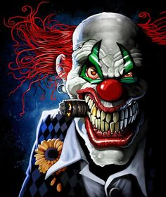 Joker Clown, Creepy Clown, Dark Fantasy, Fantasy Art, Der Joker, Clown Tattoo, Dark Evil, Insane Clown, Clown Faces