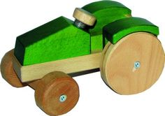 Schlepper Traktor mit Lenkung grün aus Holz HolzZauber-shop
