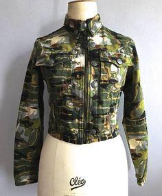 Jean Paul Gaultier camouflage jean jacket faces print 90s Gaultier camo  print crop jacket Gaultier Haute Jeanerie bricks cargo abaf462f2f11