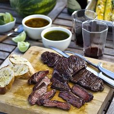 Grilled Skirt Steaks with Two Chimichurris