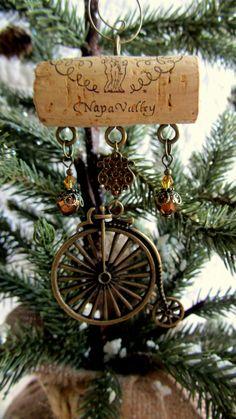 Antique bike wine cork ornament
