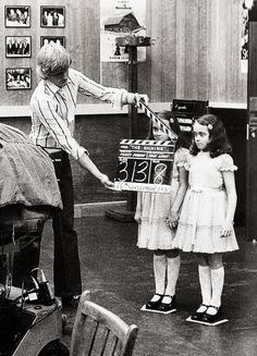 Lisa and Louise Burns as the Grady girls on the set of The Shining (1980)