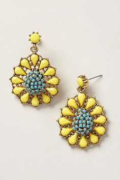I've been looking for a little pop of color in my jewelry wardrobe and these fit the bill. Girasol Earrings #anthropologie