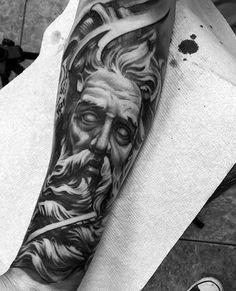 Greek God Amazing Black And Grey Tattoos For Men