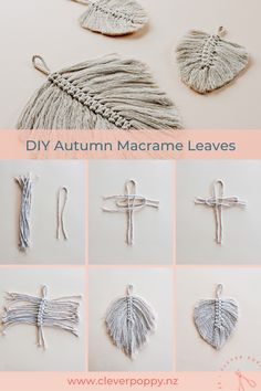 Make these DIY Macrame Autumn Leaves — Clever Poppy Macrame Design, Macrame Art, Macrame Projects, Macrame Knots, Sewing Projects, Micro Macrame, Diy Projects To Try, Macrame Wall Hanging Patterns, Macrame Patterns