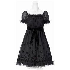Moi-même-Moitié Mini Rose Scalloped Dress (€325) ❤ liked on Polyvore featuring dresses, lolita, black, moi meme moitie, women, kohl dresses, black mini dress, rose dress, lace dress and ribbon dress
