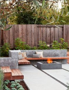 Might be too modern for us but I love the mix of the wood bench areas and squareness of it