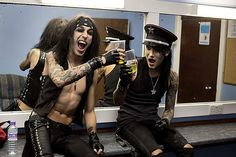 Backstage with Black Veil Brides – in pictures -CC and Ashley enjoy a quiet drink