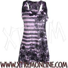 Top de tirantes a rayas lila y negro con blonda XT3609. Echa un vistazo a nuestra colección de ropa gótica y alternativa.