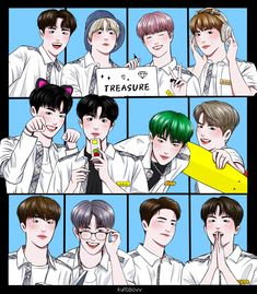 You Are My Treasure, Anime Version, Boy Idols, Kpop Fanart, Treasure Boxes, Funny Wallpapers, Cartoon Art, Yg Entertainment, Aesthetic Pictures