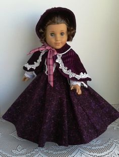 RESERVED FOR DIANE 1850s Plum Victorian Dress, Cape and Bonnet for Marie Grace