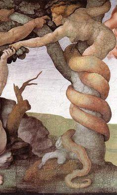 Michelangelo Buonarroti Fall and Expulsion from Garden of Eden, , Sistine Chapel, Vatican. Read more about the symbolism and interpretation of Fall and Expulsion from Garden of Eden by Michelangelo Buonarroti. Michael Angelo, Renaissance Kunst, High Renaissance, Caravaggio, Italian Painters, Italian Artist, Famous Artists, Great Artists, Sistine Chapel