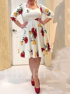 Ericdress Plus Size Floral Print Mid-Calf A-Line Sweet Dress Find latest women's clothing, dresses, tops, outerwear, and other fashion clothing and enjoy the worldwide shipping # Cheap Prom Dresses, Simple Dresses, Party Dresses, Geometric Dress, Looks Plus Size, Sweet Dress, Fashion Outfits, Fashion Shoes, Women's Fashion