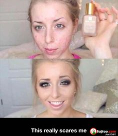 """i put this under the """"funny"""" category b/c it's funny/scary what makeup can do"""