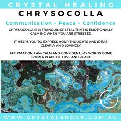 Crystal meaning for Chrysocolla Spiritual Cleansing, Healing, Crystal Meanings, Crystal Shop, Peace And Love, Affirmations, Meant To Be, Essential Oils, Spirituality
