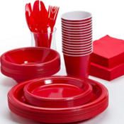 PartyCity has all kinds of colors.....cups could be one color, plates another, then another color for napkins and silverware!!!!!!!