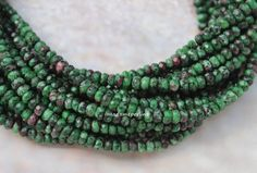 ruby zoisite jade 4mm rondelle faceted loose beads rondelles dark green gemstones beads 14.96 inch by madameperlina on Etsy