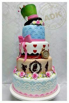 Alice in Wonderland tiered tea party birthday Cake idea