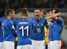 Leonardo Bonucci of Italy (C) reacts during the FIFA 2018 World Cup Qualifier Play-Off: First Leg between Sweden and Italy at Friends Arena on November 10, 2017 in Solna, Sweden. - 184 of 285