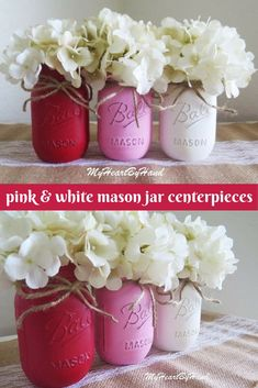 Pretty and sweet rustic decor for valentine's day or wedding decor - mason jars painted with shades of pink and white chalk paint.   #rustic #farmhouse #valentine #wedding #pink #pinkandwhite #masonjars #vase #centerpiece #shabbychic #promoted #etsy