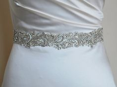 Luxury bridal belt, silver wedding belt, wedding dress belt, hand-embroidered, quality embellished belt, bridal belt, high quality, beading