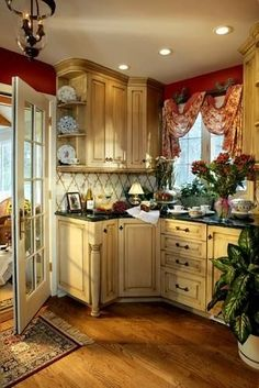 French country style-how very pretty  I like the color gold/yellow: