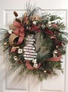 Farmhouse Christmas wreath primitive Christmas wreath