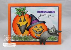 Such a fun card! #Cre8time with these great Halloween images. #Stampendous #DWstencils
