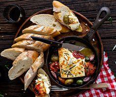 Roasted feta with olives