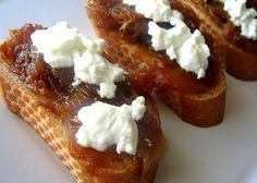 Caramelized onion and goats cheese on toast.