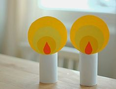 These are super cute - folded paper candle ornaments. Church Crafts, Holiday Crafts, Christmas Activities, Craft Activities, Toilet Paper Roll Crafts, Paper Crafts, Diy Paper, Diy For Kids, Crafts For Kids