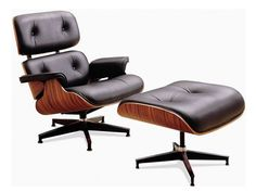 Leather armchair with footstool EAMES By Kreastore