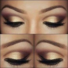 Golden smokey eye make up Gold Eye Makeup, Kiss Makeup, Love Makeup, Makeup Looks, Hair Makeup, Prom Makeup, Bridesmaid Makeup, Black And Gold Eyeshadow, Gorgeous Makeup