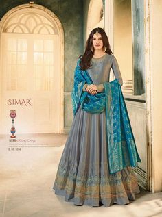 Glossy Simar Amyra Anubha Series Satin Georgette Embroidered Traditional Occasionally Fashion Party Wedding Wear Floor Length Anarkali Long Dress singles wholesaler from Surat in Best Price - Full Set Price - INR Floor Length Anarkali, Floor Length Gown, Anarkali Gown, Anarkali Suits, Punjabi Suits, Lehenga Choli, Designer Anarkali, Designer Gowns, Designer Wear