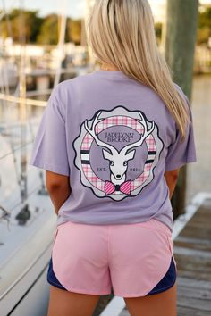 Preppy Purple Ruffle Signature Logo - SS Pocket