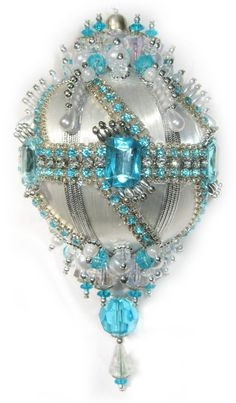 Pretty Beaded, Rhinestone, Sequined Satin  Christmas Ornament. Inspiration.