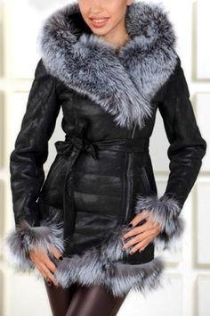 Noble Hooded Long Sleeve Faux Leather Self Tie Belt Women's Coat Coats | RoseGal.com Mobile
