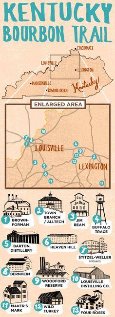 map of Kentucky Bourbon Trail  #Kentucky