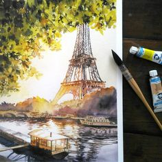 Watercolor Architecture, Watercolor Landscape, Landscape Paintings, Watercolour Painting, Watercolors, Watercolor Paintings For Beginners, Beautiful Paintings, Beautiful Landscapes, Art Plastique