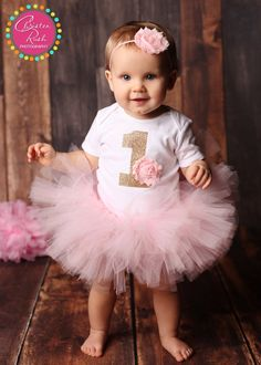 Pink Birthday Tutu - Baby Girl Birthday Outfit - 1st Bday Girl Outfit - Light Pink and Gold Bday Tutu - 1st Birthday Outfit - Girl 1st Bday
