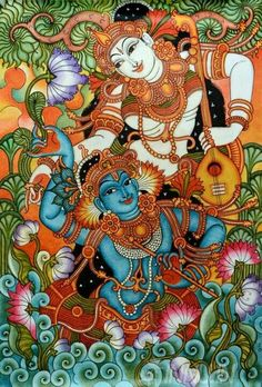 Buy Fine art painting Krishnan and Radha with Thamburu Kalamkari Painting, Krishna Painting, Madhubani Painting, Madhubani Art, Indian Traditional Paintings, Indian Paintings, Kerala Mural Painting, Art Folder, Indian Folk Art
