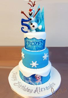 Two tier fondant cake with Frozen characters on top ...