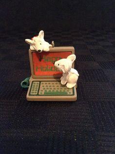 Vintage 1987 Hallmark Keepsake Computer Happy Holiday Mice Christmas Ornament
