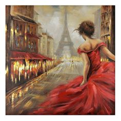 Get whisked away in the city of lights and love with our Pursuit of Romance Canvas Art! Featuring dramatic pops of red, this bold painting captures all the pas… Paris Painting, Oil Painting On Canvas, Canvas Art Prints, Canvas Wall Art, Street Painting, Acrylic Canvas, Paris Canvas, Paris Wall Art, Paris Art