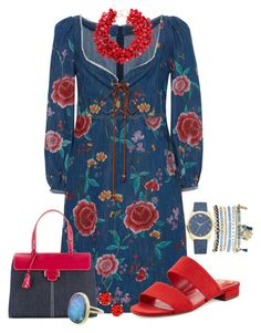 """Denim Dress"" by freida-adams ❤ liked on Polyvore featuring Roberto Cavalli, Circus by Sam Edelman, Myriam Schaefer, Mixit and Kenneth Jay Lane"