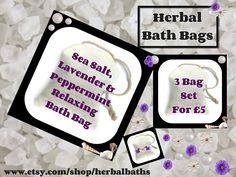 Bath and Beauty, 3 Herbal Bath Bags, Sea Salt, Lavender & Peppermint Relaxing Bath Bag, Bath Set, Home Spa, Relaxation, Herbal Gift Set by HerbalBaths on Etsy