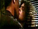 "In ""Blade Runner"" (1982), an intense, passionate scene shows bladerunner Rick Deckard (Harrison Ford) awakened by replicant Rachael's (Sean Young) piano playing; he warmly compliments her ability; she backs away unable to handle the raw, unfamiliar romantic emotions she feels; he slams her against the venetian blinds and plants a kiss, then instructs her on how to reciprocate Rick Deckard, Sean Young, Love Scenes, Harrison Ford, Blade Runner, Great Movies, Venetian, Awakening, Compliments"