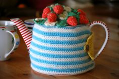 Kate of Greedy For Colour made this super cute Strawberry Tea Cosy. Now I have a severe case of tea cosy envy.