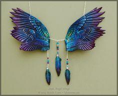 Dusk Angel Wings - Leather Necklace by windfalcon.deviantart.com on @DeviantArt
